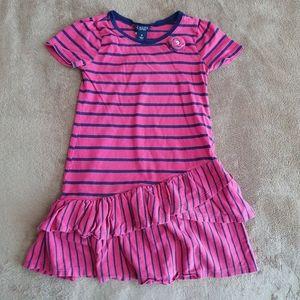 Chaps Stripes Girls Size 6 Blue/Pink Dress